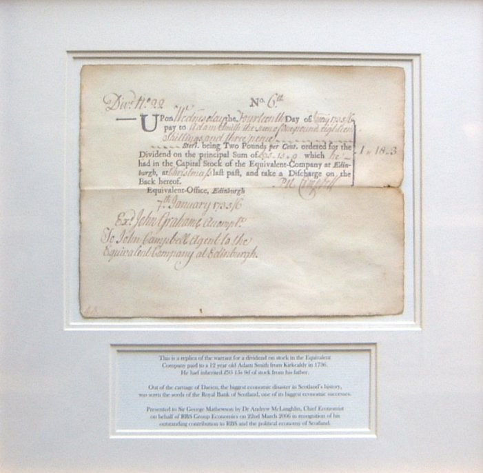 Facsimile of Share Certificate belonging to Adam Smith